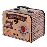 Caja Costura Decorativa con Set de Costura de Madera'The Sewing Tools'. Costureros. Cajas Multiusos. Regalos Originales. Decoración Hogar. 20 x 25.5 x 18 cm.