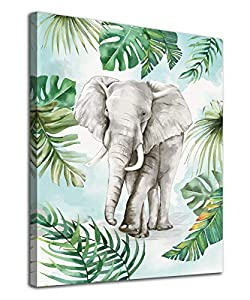 "Elephant Wall Art Tropical Botanic Leaf Canvas Pictures Green Gray Modern Artwork Contemporary Abstrac Prints Framed for Home Office Kitchen Nursery Bathroom Bedroom Living Room Decor 12"" x 16"""