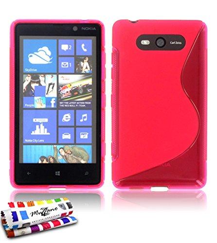 Muzzano–Cover morbida ultra sottile Nokia Lumia 820[il s Premium] [Rosa] di MUZZANO + Pennino e Panno Muzzano offerti–La protezione antiurto Ultime, protezione anti-urto elegante e duratura per il vostro Nokia Lumia 820
