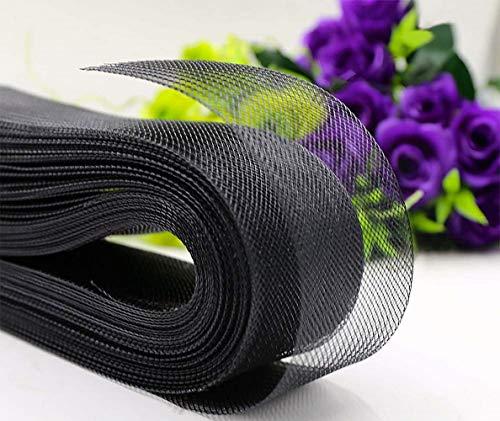 Abbaoww Polyester 3 Inch 25 Yard Stiff Horsehair Braid for Polyester Boning Sewing Wedding Dress Dance Gowns Dress Accessories, Black