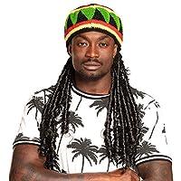 Die Strickmütze Rasta Dreadlocks, der Firma Boland, mit angenähten Rastalocken verleiht Ihnen das richtige Jamaica Feeling Diese Mütze hat einen guten Tragekomfort und ist in den Farben Jamaicas ein klares Erkennungsmerkmal für jedermann Einheitsgröß...