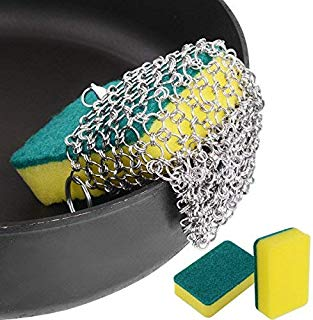 Cast Iron Cleaner, ROBAO Stainless Steel Chainmail Scrubber for Cast Iron Pan Skillet, Dutch Ovens, Waffle Iron Pans Scraper, Cast Iron Grill Scraper, 3pcs Sponges Included