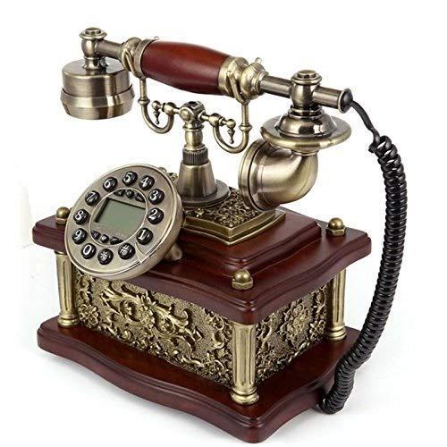 SXRDZ Teléfono Europeo Familia IMITACIÓN Wood High-Garde Retro Botón Dial Teléfono Línea Fija
