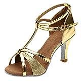 POLP Sandalias de Vestir Mujer de Danza Zapatos Tacón Bajo Cómodo Moda para Mujer Waltz Prom Ballroom Zapatos de Baile Latino Sandalias Correa de Tobillo Plata Dorado 34-41 (3Gold, Size:37)