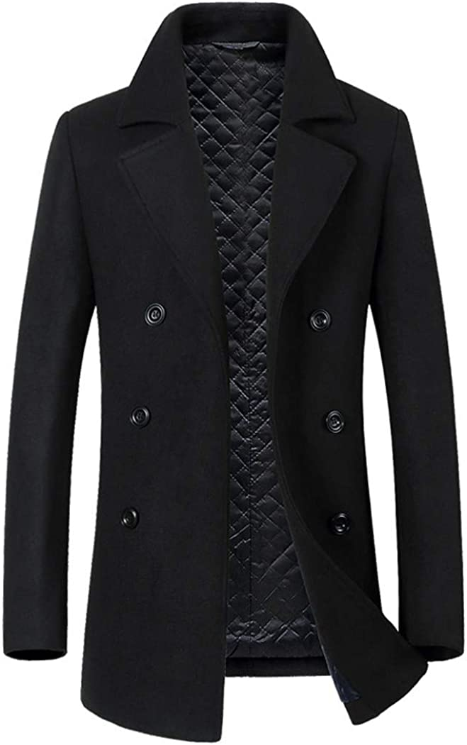 Michealboy Men's Doube-bresresd Wool Blend Pea Coat Slim Fit Notched Lapel Thicken Lining
