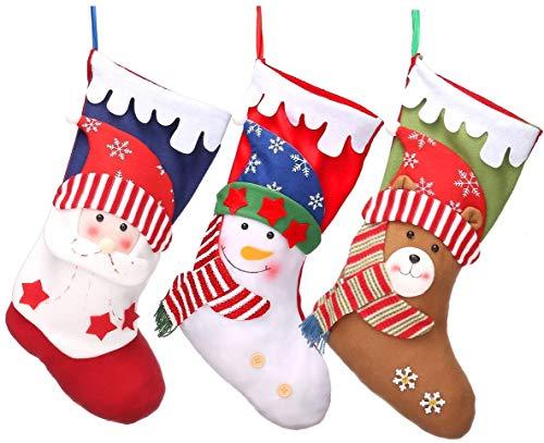 "3 PCS Christmas Stockings 18"" Xmas Party Mantel Decorations Ornaments - Santa Snowman Bear Style"