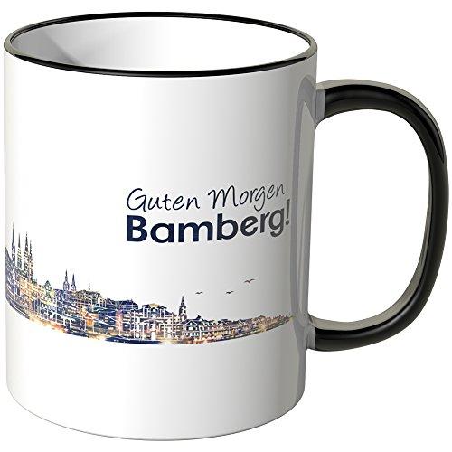 WANDKINGS® Tasse, Schriftzug Guten Morgen Bamberg! mit Skyline bei Nacht - SCHWARZ