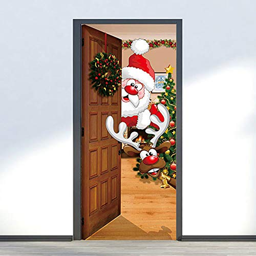 Hunpta@ Türaufkleber Weihnachten Türdekoration 3D Selbstklebend Nette Fawn Santa Türtapete Türfolie Türposter Christmas Wandaufkleber Tapeten Haus Deko