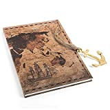 Logbuch-Verlag Set de regalo – Cuaderno grande en aspecto vintage DIN A4 + colgante de ancla de metal marrón dorado – regalo vacaciones viaje diario