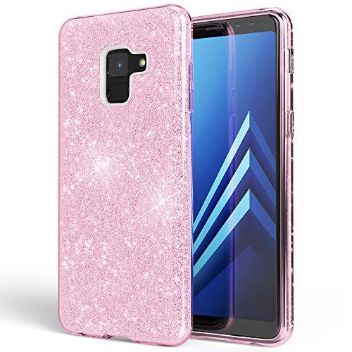 NALIA Hülle kompatibel mit Samsung Galaxy A8 (2018) Glitzer Handyhülle Ultra-Slim Silikon Hülle Back-Cover Schutzhülle, Glitter Handy-Tasche Bumper, Dünnes Bling Phone Etui, Farbe:Pink