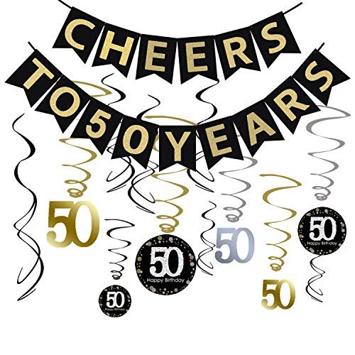 Tuoyi 50th Birthday Party Decorations KIT - Cheers to 50 Years Banner, Sparkling Celebration 50 Hanging Swirls, Perfect 50 Years Old Party Supplies 50th Anniversary Decorations