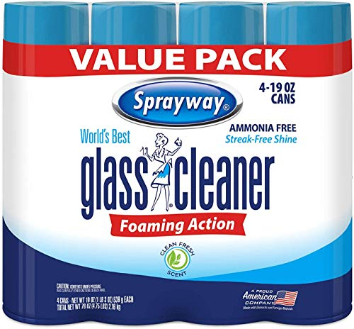 Sprayway 443331 Ammonia Free Glass Cleaner, 19 Oz. (4-Pack) (Packaging May Vary) (4 Case(19 Oz))