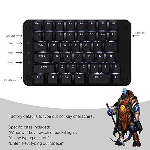 Koolertron片手メカニカルキーボードゲーミングキーボード43キープログラム可能Windows7/8/10/MacOS/Linuxホワイト・バックライト付き(Cherry茶軸)