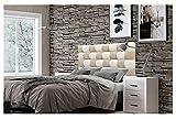 ONEK-DECCO Cabecero de Cama, tapizado en Polipiel Mod. Kansas Patchwork 2 Colores Blanco-Beige para Cama de niño, Juvenil y Matrimonio (Blanco-Beige, 150X70)