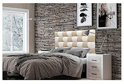 ONEK-DECCO Cabecero de Cama, tapizado en Polipiel Mod. Kansas Patchwork 2 Colores Blanco-Beige para Cama de niño, Juvenil y Matrimonio (Blanco-Beige, 135X70)