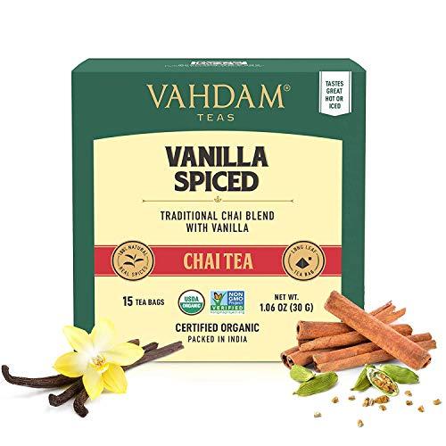 VAHDAM, Masala Chai con especias de vainilla | 30 bolsitas de té | ALIVIO Y REFRESCAMIENTO | Té Masala Chai | Bolsa de té con especias Chai | Preparar como té caliente, frío o helado