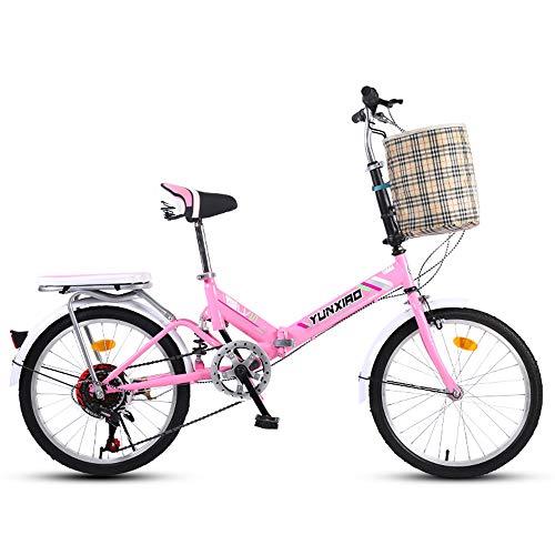 ZYD 20-Zoll-Faltgeschwindigkeitsfahrrad Student Faltrad für Männer und Frauen Faltgeschwindigkeitsfahrrad Dämpfungsfahrrad, Schwarz, Schockabsorption