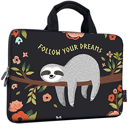 iColor 14 15 15.4 15.6 inch Laptop Bag Case Handle chromebook case Sleeve Computer Protect Case Pouch Holder Notebook Sleeve Neoprene Chromebook Cover Soft Carring Travel Case Sloth ICB-18