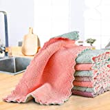 YOHOTA Dish Cloths & Dish Towels,Reusable,Absorbent,Nonstick,Quick-Drying(12 Pack) (Gray,Pink,Green,Purple)