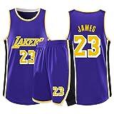 Uniformi da Basket da Uomo Maglia Lebron James # 23 Los Angeles Lakers T-Shirt Senza Maniche Fitness Traspirante Felpa Fan Jersey (Color : E, Size : XS/32)