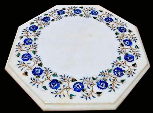 Gifts And Artefacts Plateau de table en marbre en pierre blanche 45,7 cm avec marquetterie Art fait main en Inde