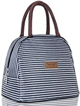 Buringer Reusable Insulated Lunch Bag Cooler Tote Box with Front Pocket Zipper Closure for Woman Man Work Picnic or Travel (Dark Blue White Strip,Large Size)