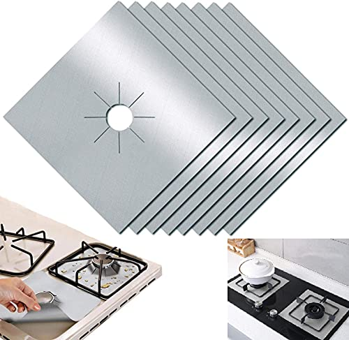 Gas Hob Range Protectors, 10 Pcs Non-Stick Reusable Cooker Protector Stovetop Burner Protector Liner Heat-Resistant Easy to Clean (Silver)
