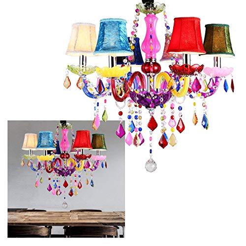 LeMeiZhiJia 6-flammig Kronleuchter bunt vintage modern Lüster deckenleuchte Pendelleuchte kristall mit Leuchte Lampenschirm-Wohnzimmer,Esszimmer,Schlafzimmer