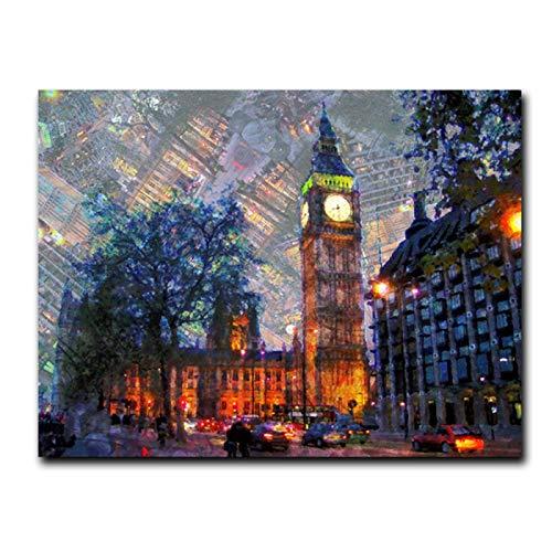 Impresión sobre lienzo con vista nocturna de Londres en lienzo moderno para pared, paisaje de ciudad, decoración para el hogar