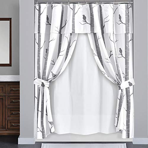 Lush Decor, Gray, Bird On The Tree Double Swag Shower Curtain with Peva Lining & Rings, 16 Pieces