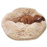 [Tqgold]ペットベット ペットソファ 猫 小型犬 ふわふわ 暖かいマット 長い起毛 クッション 洗える 寒さ対策 消臭 除菌 滑り止め 丸型 寝台 キャットハウス ペット用品 四季適用 (ライトブラウン 50cm)