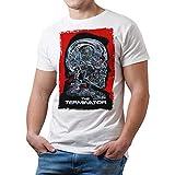 Camiseta Hombre Cine Terminator, Arnold Schwarzenegger (Blanco, L)