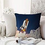 Fangguan decoración Cuadrada, Decoración del Espacio Exterior, Cohete Espacial Que se eleva a través de la explosión de Las Nubes Explo,Funda de Almohada Almohada para Coche Almohada para sofá casero