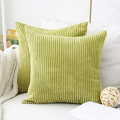 Home Brilliant Euro Sham Striped Corduroy Textured Velvet European Spring Pillow Covers for Couch, 24 x 24 inch (60cm), 2 Pack, Grass Green