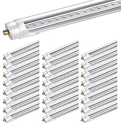 Bbounder 25 Pack led Tube Light 8ft, for T8 or T12 Flourescent Light Bulbs (120W) Replacement,45W, FA8 Single Pin Base, 5200LM 6000K, Dual Ended Power, Ballast Bypass,ETL Listed