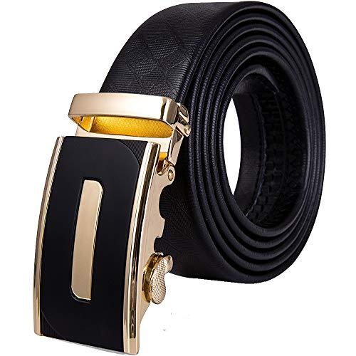 Men Cowhide Belt, Gold Automatic Ratchet Buckle Black Waist Belt Without Holes Golf/Jeans/Slacks/Pants Gift Box