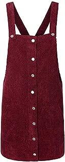 Kulywon Holiday Dress Women Corduroy Straight Suspender Mini Bib Overall Pinafore Casual Button Dress