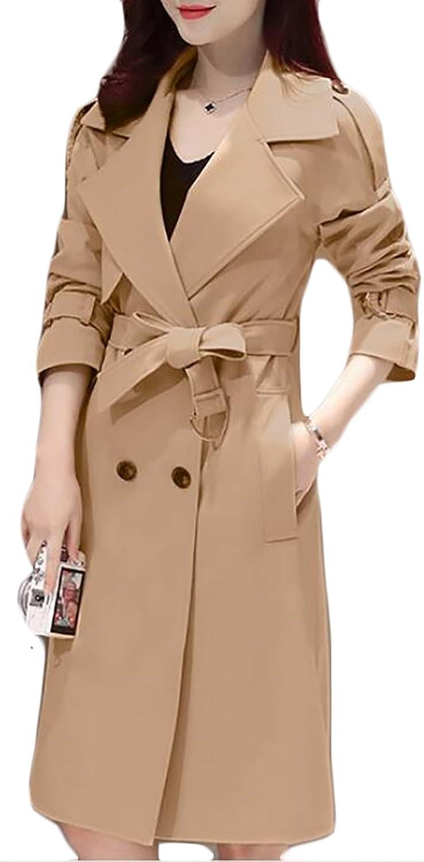 Big Tang Womens Slim Belt DoubleBreasted Solid Elegant Trench Coat