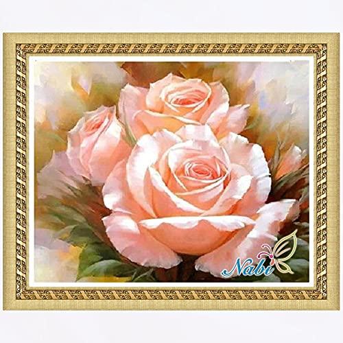 DIY 5D Diamante pintura rosa rosa flor rhinestone bordado pintura pegar lienzo numerado sala de estar dormitorio decoración Diamante redondo 40x50cm