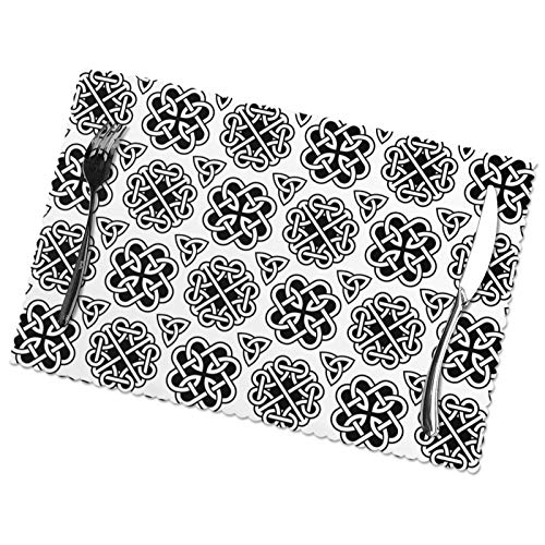 Uangerl Irish Celtic Knots Black Placemats Non-Slip Insulation Heat Resistant Washable Kitchen Table Mats Set of 6 for Dining Table