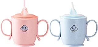 STOBOK 2pcs Baby Straw Cup Infant Trainer Cup with Handles Scale Spill Proof Sippy Cups for Baby Infant Toddler