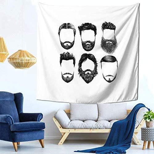 XCNGG Hair and Beards, Hipster Fashion Sketch Man Face Hairstyle y Vogue Beards Bigote Tapiz Decoración Sofá Familiar Dormitorio se Puede Colocar como una Colcha 59 59 Pulgadas