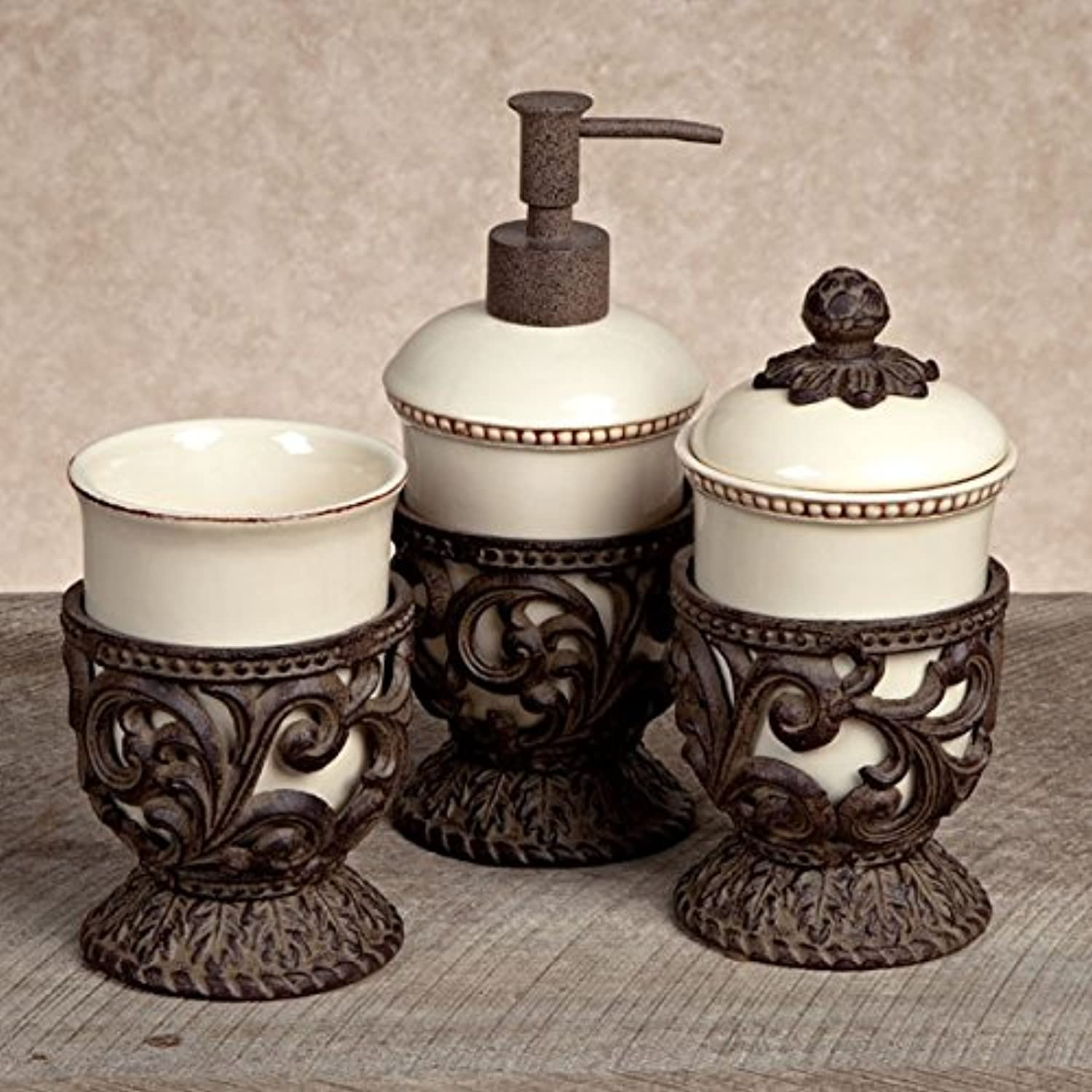 GG Collection Cream 3 Piece Vanity Set with Metal Holders