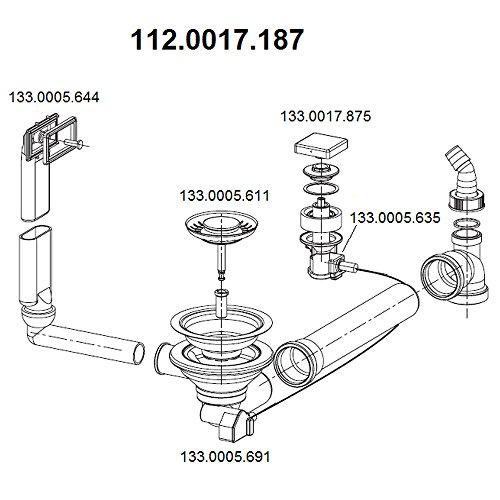 Ablaufgarnitur 3,5 Zoll für die FRANKE Spüle PLANAR PPX 611 / Überlaufgarnitur