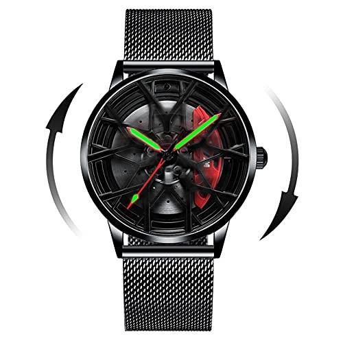 HEEYEE Modelo 3D Spinning Coche Rueda Rueda Rueda Manos Luminosas Reloj de rotación de 360 Grados para Hombres Relojes de Cuarzo Relojes de Pulsera,B