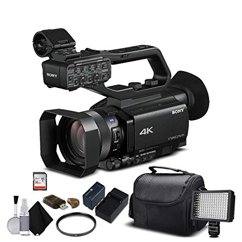 Sony HXR-NX80 Full HD NXCAM with HDR and Fast Hybrid AF (HXR-NX80) with 16GB Memory Card, Extra Battery and Charger, UV Filter, LED Light, Case and More. - Starter Bundle