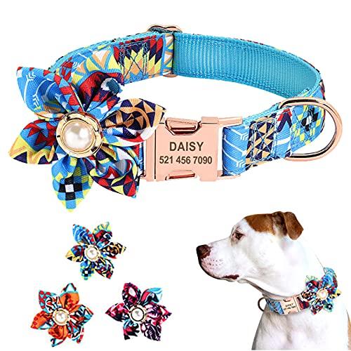 Collares De Perro para NiñAs, Collar De Perro para NiñO Personalizado con Etiqueta De Nombre, Collar Grande Ajustable De Camuflaje Floral Verde para Perros Y Gatos para Perros PequeñOs Y Medianos