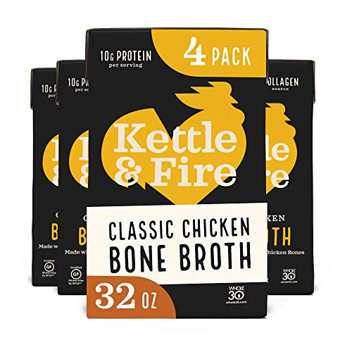 Chicken Bone Broth by Kettle and Fire, Pack of 4, 32oz For Cooking, Keto Diet, Paleo Friendly, Whole 30 Approved, Gluten Free, with Collagen, 7g of protein, 32 fl oz…