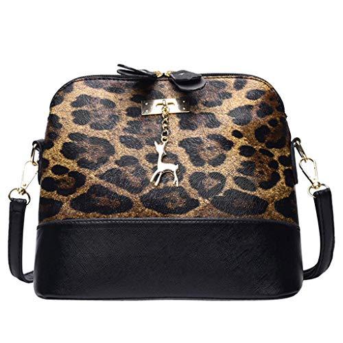Deloito Damen Mode Leopard Drucken Umhängetasche Kitz Anhänger Shell Schultertasche Kuriertasche Frauen Abendtasche elegant Umhängetasche (Braun)