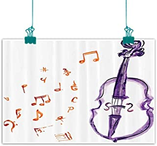 funkky Music Decor Light Luxury American Oil Painting Musical Notes Instrument Violin Cello Watercolor Based White Backdrop Print Home and Everything 35
